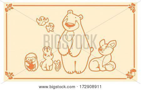 Woodland cute animals set. Vector forest friends characters. bear fox rabbit hedgehog mouse.