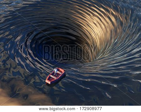 boat drifting into a water funnel, 3d illustration