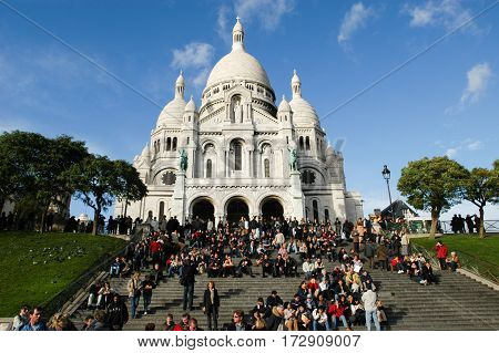 People Walking And Relaxing In Front Of Basilique Du Sacre Coeur