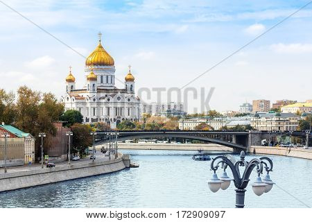 Cathedral of Christ the Saviour with Bersenevskaya embankment in Moscow