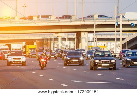 Red Motorbike On The Highway Traffic