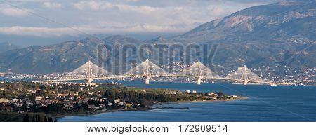 Spectacular Cable Bridge In Patra, Greece