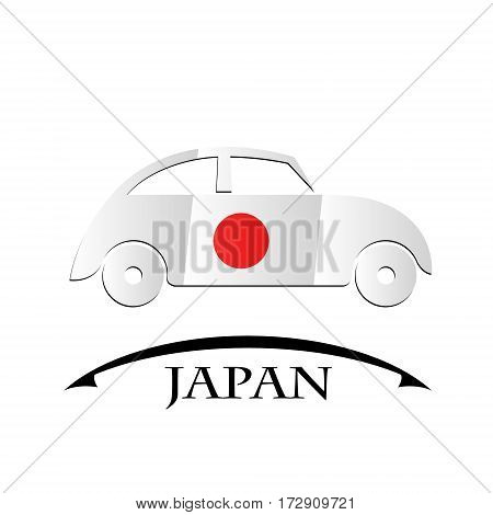 car icon made from the flag of Japan