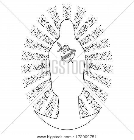 Silhouette and Immaculate Heart of Blessed Virgin Mary, standing on moon in rays of sun on white background. Black and white coloring page.