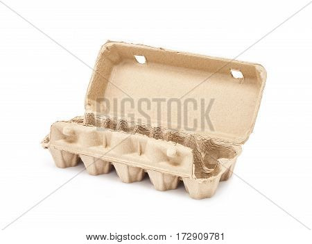 egg packaging recycle paper mould box isolated on white background