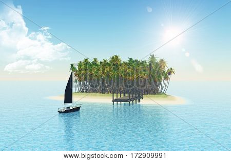 3D render of a yacht sailing to a tropical island with jetty