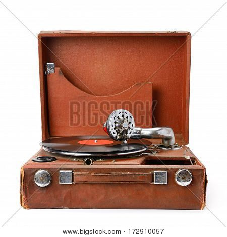 old gramophone and vinyl record isolated on white background