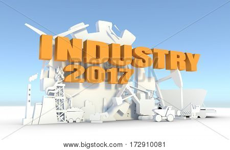 Energy and Power icons set. Sustainable energy generation and heavy industry. 3D rendering. Industry 2017 text
