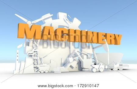 Energy and Power icons set. Sustainable energy generation and heavy industry. 3D rendering. Machinery text