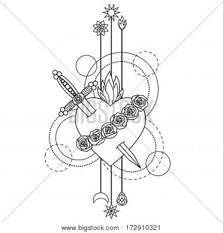 Immaculate Heart of Blessed Virgin Mary on white background. Black and white coloring page.