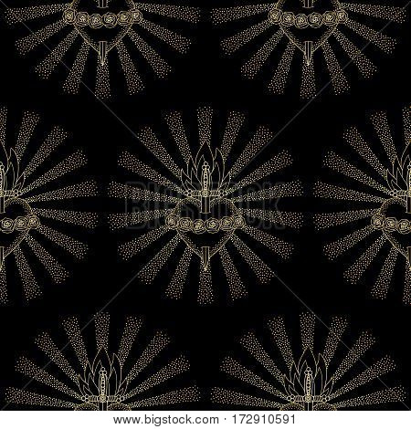 Seamless pattern of Immaculate Heart of Blessed Virgin Mary in rays of sun on black background. Black and gold wallpaper.