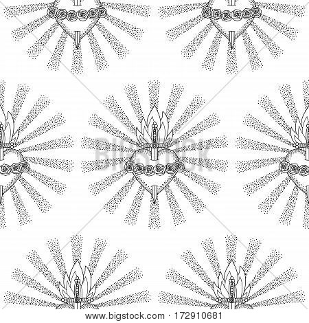 Seamless pattern of Immaculate Heart of Blessed Virgin Mary in rays of sun on white background. Black and white coloring page.