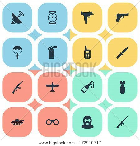 Set Of 16 Simple Terror Icons. Can Be Found Such Elements As Heavy Weapon, Paratrooper, Firearm And Other.