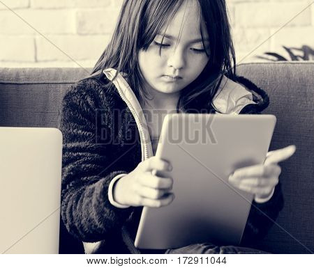 Daughter Girl Playing Techie Digital Device