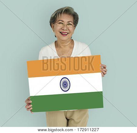 Woman Hands Hold Indian Flag Patriotism