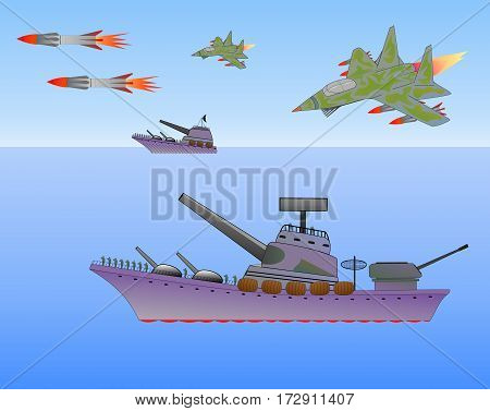 military ship and the plane on the sea military action