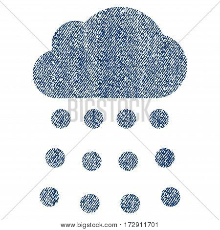 Rain Cloud vector textured icon for overlay watermark stamps. Blue jeans fabric vectorized texture. Symbol with unclean design. Blue ink rubber seal stamp with fiber textile structure.
