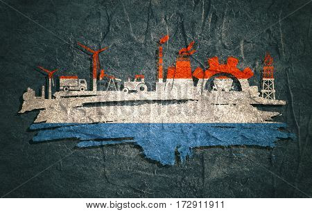 Energy and Power icons set and grunge brush stroke. Energy generation and heavy industry relative image. Agriculture and transportation. Concrete textured. Flag of the Netherlands