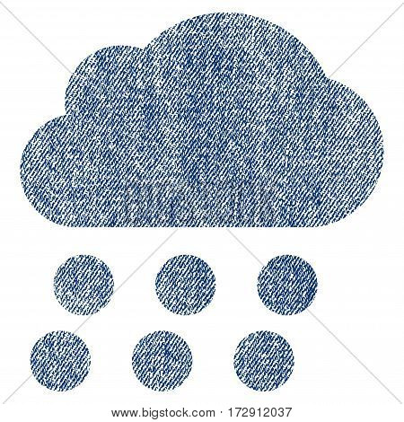 Rain Cloud vector textured icon for overlay watermark stamps. Blue jeans fabric vectorized texture. Symbol with scratched design. Blue ink rubber seal stamp with fiber textile structure.