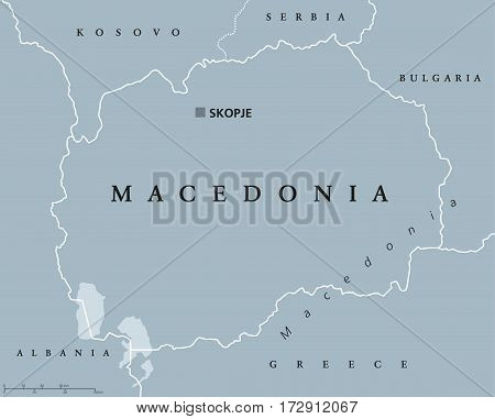 Macedonia political map with capital Skopje and neighbor countries. Republic in Southeastern Europe on Balkan peninsula. Former Yugoslav Republic of Macedonia. Illustration. English labeling. Vector.