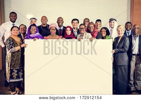 Diverse People Show Board Placard Copy Space