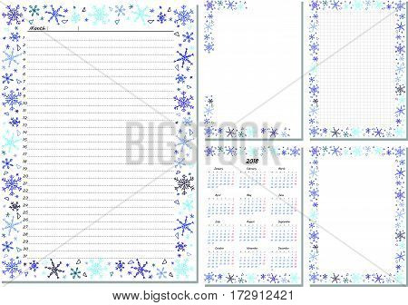 Set of pages template for daily planner. Printable, for scrapbooking. Snowflakes design. Part 2. Calendar 2018, cover, cell and empty page, for every day in month notes. Vector illustration.