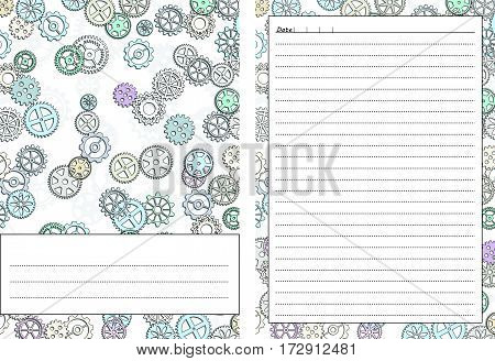 Set of pages template for daily planner. Printable for scrapbook. Gears design. Part 2. Diary cover page for every day notes. Vector illustration.