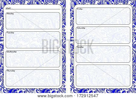 Set of pages template for daily planner. Printable for scrapbooking. Blue openwork ornament design. Part 3. Page for every day in week notes. Vector illustration.