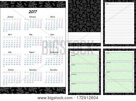Set of pages template for daily planner. Printable for scrapbooking. Leaves on green background design. Part 1. Calendar 2017 cover for every day in week notes lined page. Vector illustration.
