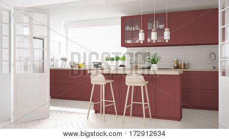 Scandinavian Classic Kitchen With Wooden And Red Details, Minimalistic Interior Design