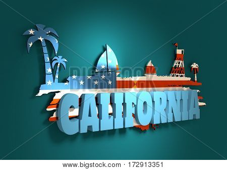 Vintage seaside view poster. Palm and safeguard tower on the beach. Yacht in the ocean. Silhouettes on grunge brush stroke. 3D rendering. Metallic glossy material. USA flag. California text