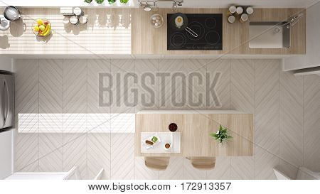 Scandinavian Classic Kitchen With Wooden And White Details, Top View, Minimalistic Interior Design