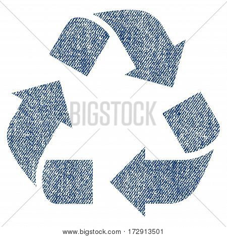 Recycle vector textured icon for overlay watermark stamps. Blue jeans fabric vectorized texture. Symbol with scratched design. Blue ink rubber seal stamp with fiber textile structure.
