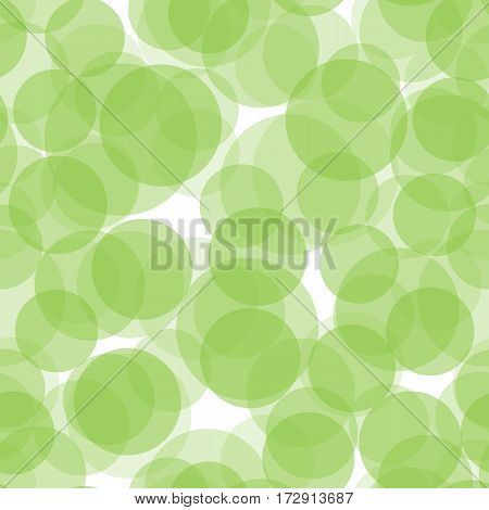 Abstract green and white seamless background with circles. Vector illustration.