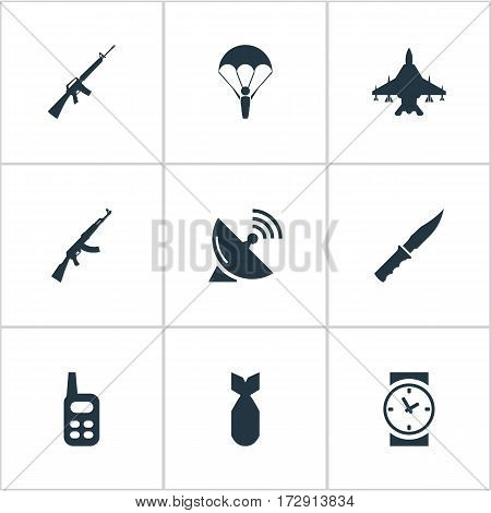 Set Of 9 Simple War Icons. Can Be Found Such Elements As Cold Weapon, Kalashnikov, Walkies And Other.