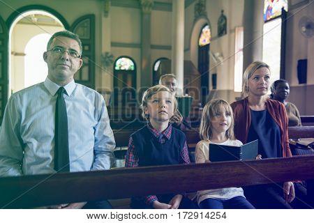 Family Sitting Church Believe Religion