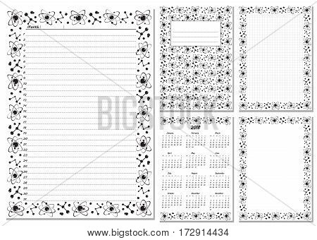 Set of pages template for daily planner. Printable for scrapbook. Black and white molecule design. Part 2. Calendar 2018 cover cell empty page for every day in month notes. Vector illustration.