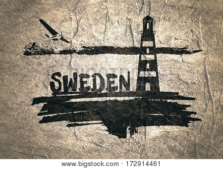 Lighthouse on brush stroke seashore. Clouds line with retro airplane icon. Sweden country name text. Concrete textured