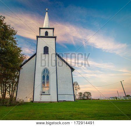 Rural white church in Prince Edward Island Canada