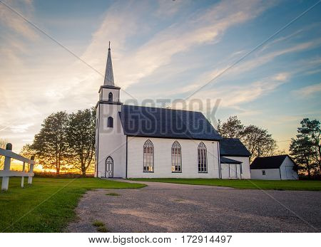 Rural white church in Prince Edward Island Canada