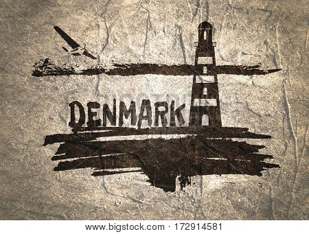 Lighthouse on brush stroke seashore. Clouds line with retro airplane icon. Denmark country name text. Concrete textured