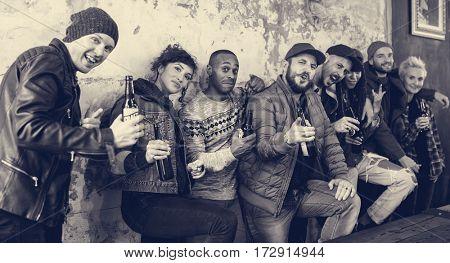 Diverse People Enjoy Beer Alcohol Drinks Pub