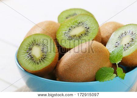 bowl of ripe kiwi - close up