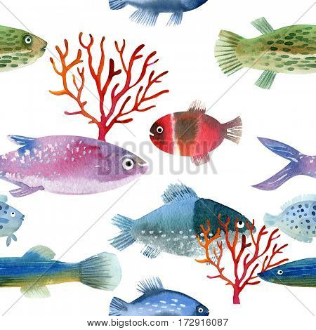 Seamless watercolor pattern with fishes