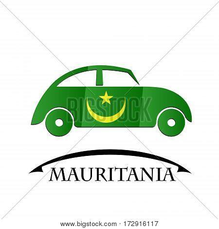 car icon made from the flag of Mauritania