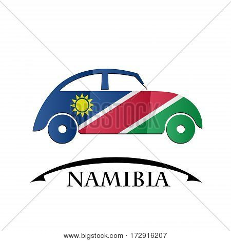 car icon made from the flag of Namibia