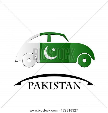 car icon made from the flag of Pakistan