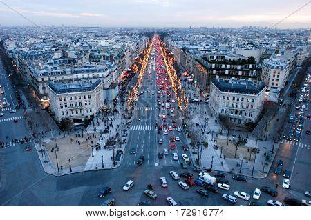 Sunset At Champ Elysee On Paris