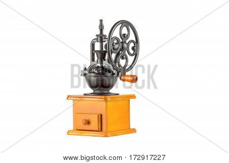 manual coffee grinder isolated on white background