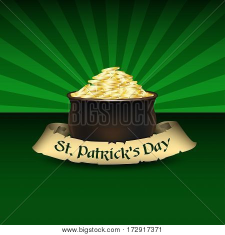 St. Patrick's Day poster design template. Pot of Gold and old ribbon with text. Vector background for Saint Patrick's Day.